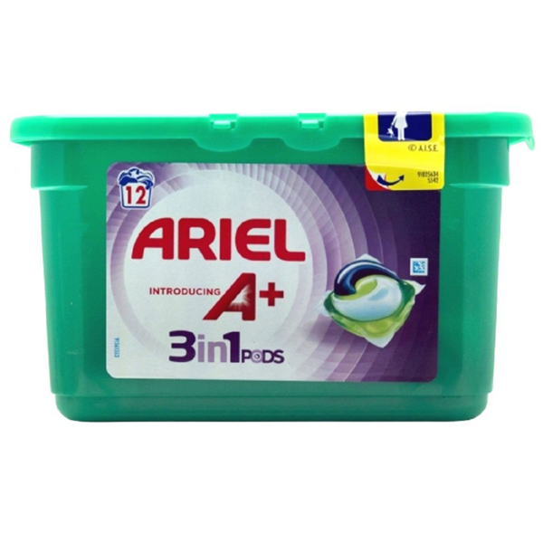 Ariel 3 in 1 Pods Laundry Detergent capusles colour Introducing A+ 12s